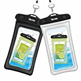 Waterproof Case, 2 Pack Veckle Clear TPU Universal Waterproof Cell Phone Case, Floating Dry Bag, Waterproof Pouch for Smartphone iPhone 8 7 6 6S 5S Plus X Galaxy S8 S7 S6 Note 5 Beach - Black White