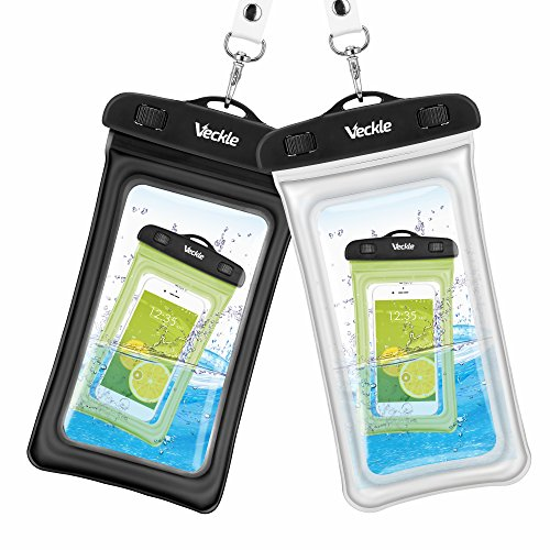 Price comparison product image Waterproof Case, 2 Pack Veckle Clear TPU Universal Waterproof Cell Phone Case, Floating Dry Bag, Waterproof Pouch for Smartphone iPhone 7 6 6S 5S Plus Galaxy S8 S7 S6 Note 5 Beach - Black White
