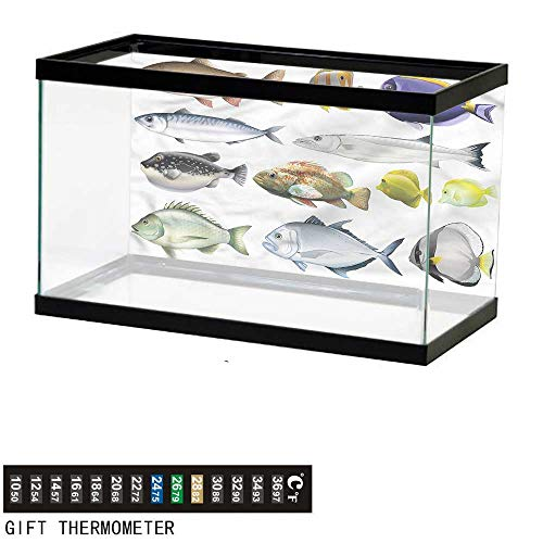 bybyhome Fish Tank Backdrop Fish,Pacific Fish Salmon Sea Bass,Aquarium Background,60
