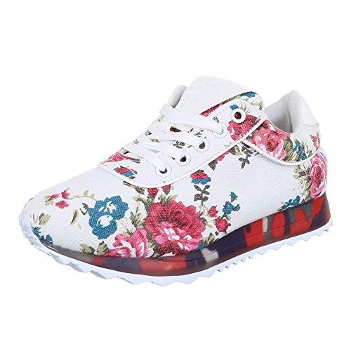 Ital-Design - zapatos de tiempo libre Mujer Multicolor - Weiß Multi
