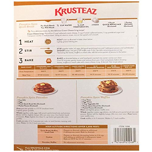 Pumpkin Spice Bread Quick Bread - Krusteaz Quick Bread Supreme Mix, NET WEIGHT 64 oz. (FOUR 1 lb MIX PACK) by Krusteaz (Image #3)