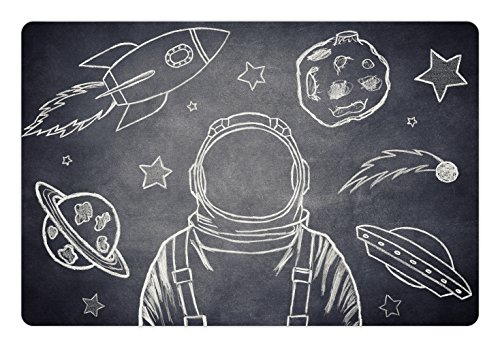 Modern Pet Mats for Food and Water by Lunarable, Space Backdrop with Planets and Sketchy Astronaut Figure Asteroid Galaxy Image, Rectangle Non-Slip Rubber Mat for Dogs and Cats, Cadet Blue White (White Cadet Cadet Drop)