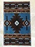South West Native American Door Mat Area Rug Blue Brown Concord Design C318 (2 Feet X 3 Feet 4 Inch .)