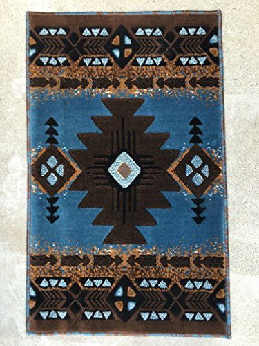 South West Native American Door Mat Area Rug Blue Brown Concord Design C318 (2 Feet X 3 Feet 4 Inch - Home Native American