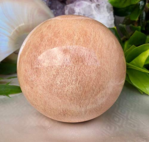 - Spiritual Elementz Reiki Healing Peach Moonstone (Stone of Emotional Health) Gemstone Sphere Ball (40-50mm).