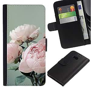 Billetera de Cuero Caso Titular de la tarjeta Carcasa Funda para HTC One M8 / Bouquet Flowers Floral Pink / STRONG