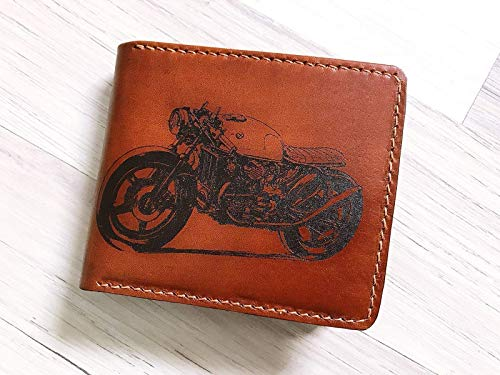 Unik4art - cafe Race Motobike men wallet leather handmade boyfriend father anniversary - Male Race
