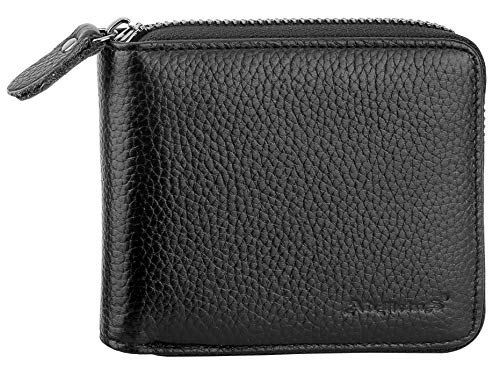 Admetus Men's Genuine Cow Leather Zip-around Bifold Wallet with Elegant Gift Box Black
