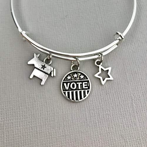 Democrat jewelry for women, Vote bangle charm bracelet, USA American Patriotic bracelet