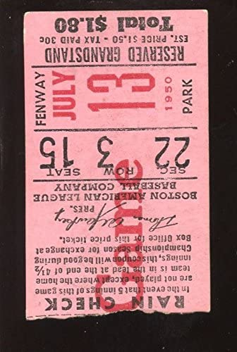July 13 1950 Boston Red Sox Ticket Stub Vgex At Amazon S Sports Collectibles Store