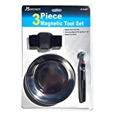 """Magnetic Tool 3 piece Set Stainless Steel Heavy Duty 6 Inches Round Tray with Magnetic Pick Up Tool 24"""" 2lbs Pull and Adjustable Magnetic Wristband Holds Screws, Nails, Bolts, Washers, Drill Bits and"""