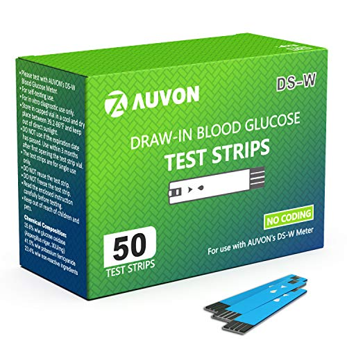AUVON Blood Glucose Test Strips (50 Count) for use with AUVON DS-W Diabetes Sugar Testing Meter (No Coding Required, 2 Box of 25 Each)
