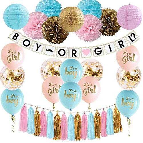Gender Reveal Decoration Set Baby Shower Pink Blue Gold Confetti Balloons Pink Blue Gold Pom Poms Boy or Girl Banner Pink Blue Gold Paper Lanterns Tassel Garland Gender Reveal Decorations