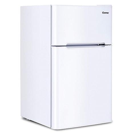 86c340ed1a1 Amazon.com  COSTWAY Compact Refrigerator 3.2 cu ft. Unit Small Freezer  Cooler Fridge (White)  Appliances