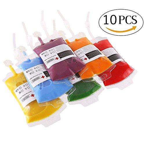 Novelty Item Reusable Blood Energy Drink Bag Halloween Vampire Pouch Props (10PCS) ()