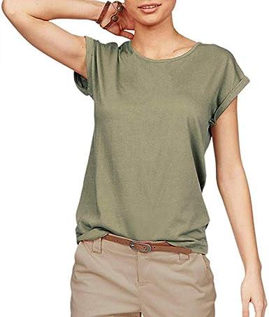 MISSWongg Camisetas Suelto para Mujer Poliéster Cuello Redondo Solid Color Verano T-Shirt Suave Cómodo Tops Ligeros Transpirables Blusa versátil Informal de Manga Corta: Amazon.es: Ropa y accesorios