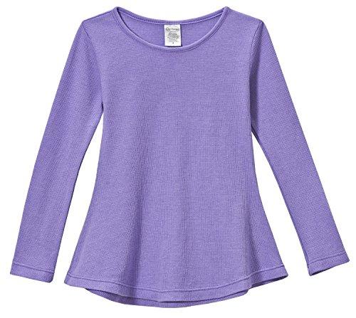 City Threads Little Girls' Thermal Long Sleeve Tunic Shirt Tee Dress for School Party Play, Deep (medium) Purple, 5