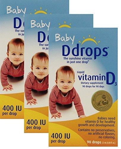 Ddrops Baby Liquid Vitamin D3 400 IU 2.50 mL (90 drops) ( Pack of 3)