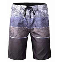 Topda123 Men's Quick Dry Swim Trunks and Beach Shorts with Military Map