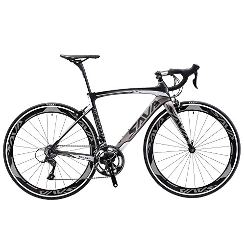 SAVADECK Carbon Road Bike, Warwinds3.0 700C Carbon Fiber Road Bicycle with Shimano SORA 18 Speed Derailleur System and Double V Brake (Grey, 54cm)