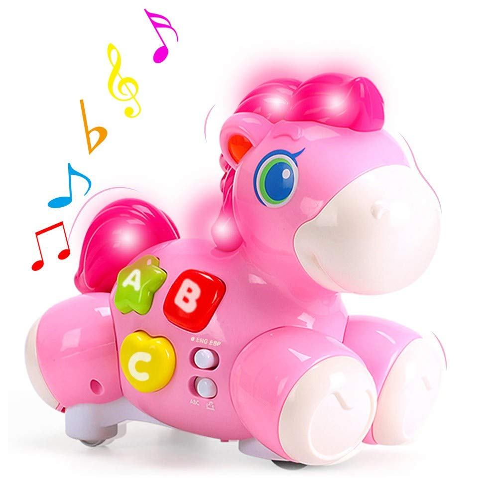 Happy Learning Horse, NEEDOON Bilingua Horse (English & Español) Musical Baby Toy with Horse Sounds and Nursery Songs Light for Chase Game and Early Education Infant Baby Toddlers (Pink) by NEEDOON