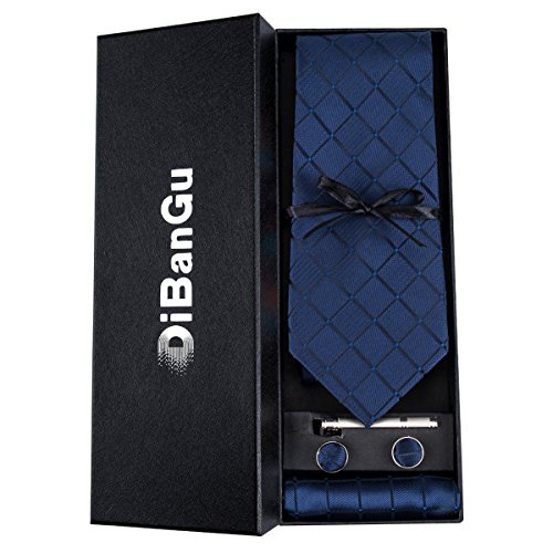 - DiBanGu Men's Silk Tie and Pocket Square Navy Woven Tie Cufflink Set Business