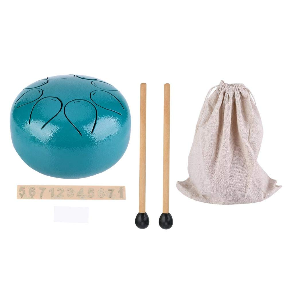 5 Inch Mini Stainless Steel Percussion Tongue Drum Lotus Drum Chakra Drum With FREE Bag & Mallets for Full Ethereal Sound(Black or Gold).(green)