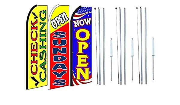 Open Sundays King Swooper Flag Sign With Complete Hybrid Pole set Pack of 2