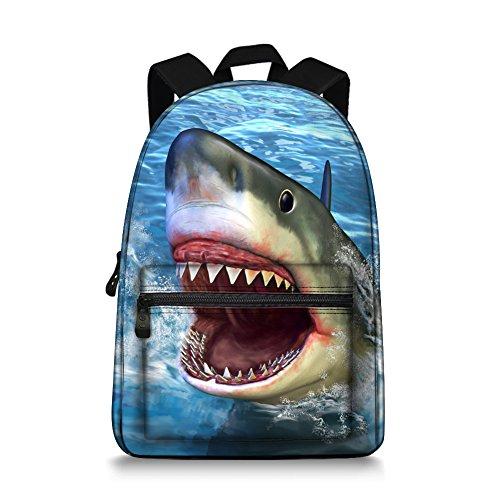 Boys Backpack - 3D Animal Face Shark Backpack for School