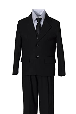 94c2d51693d1 Amazon.com: Boys Black Suit with Black Tie in Baby to Boys Sizing ...