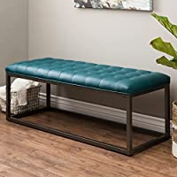 Teal Leather Coffee Table Ottoman Button Tufted Bench