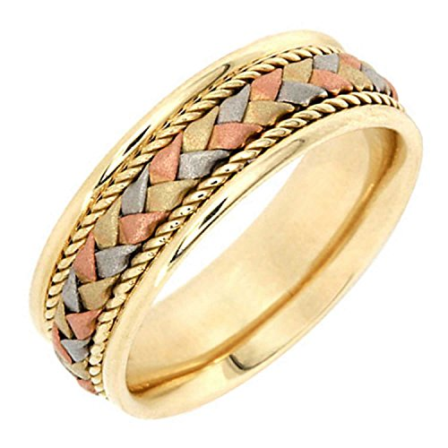 (14K Tri Color Gold Braided Basket Weave Women's Comfort Fit Wedding Band (7.5mm) Size-7.5c1)