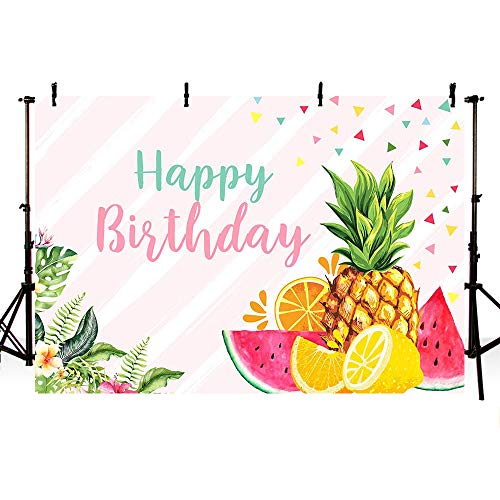MEHOFOTO Twotti Frutti Party Backdrop Summer Girl Happy Birthday Pink Stripes Confetti Tropical Fruits Aloha Floral Photography Background Watermelon Pineapple Orange Lemon Photo Booth Banner 7x5ft