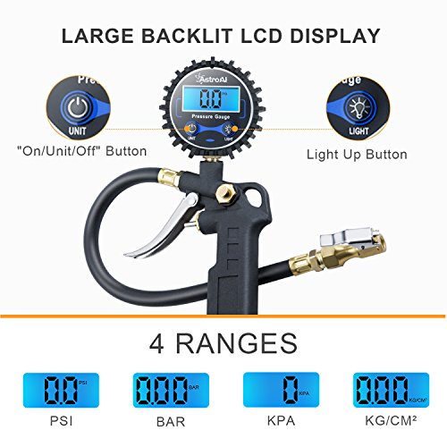 AstroAI Digital Tire Inflator with Pressure Gauge, Medium 250 PSI Air Chuck and Compressor Accessories Heavy Duty with Rubber Hose and Quick Connect Coupler for 0.1 Display Resolution , Black