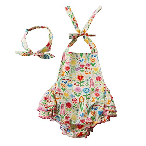 Lisianthus Baby Girl Floral Print Cotton Romper Summer Clothes with Headband