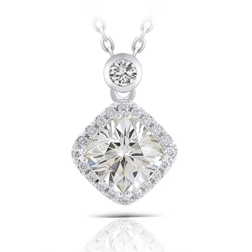 DOVEGGS Platinum Plated Silver Center 2ct 7.5X7.5mm Tea Yellow Cushion Cut Moissanite Halo Pendant Necklace with Accents for Women
