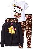 Hello Kitty Girls' Little Girls' 3 Piece Zip up Hoodie Legging Set with T-Shirt Shirt and Printed Leggings, True Black, 4