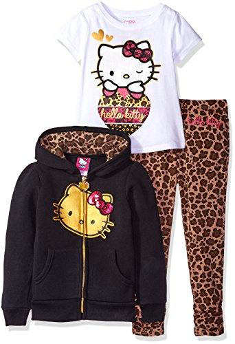 Hello Kitty Girls' Little Girls' 3 Piece Zip up Hoodie Legging Set with T-Shirt Shirt and Printed Leggings, True Black, 5 (Girls Hello Kitty)
