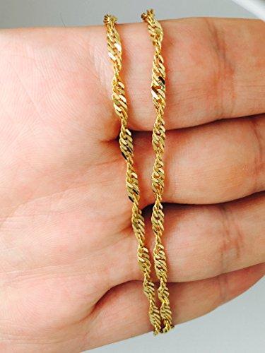 /585or 14carats or jaune Chaîne Singapour de largeur 2.20mm Chaîne gourmette, longueur au choix