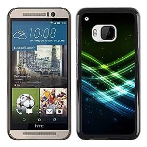 Paccase / SLIM PC / Aliminium Casa Carcasa Funda Case Cover para - Neon Waves - HTC One M9
