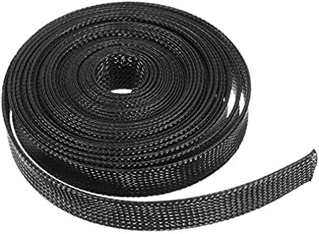 DaFFeng 6m 8mm//10mm//12mm//15mm//20mm Wire Cable Sheathing Expandable Sleeving Braided Loom Tubing Black 15mm