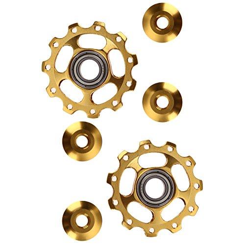 2pcs 11T Bike Aluminum Alloy Bearing Jockey Wheel Rear Derailleur(Golden) - 1