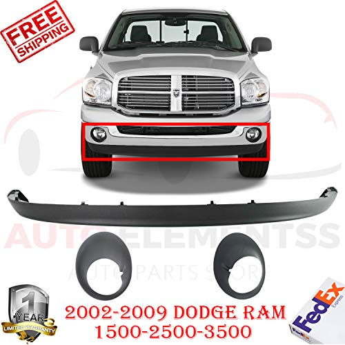 New Front Lower Valance Steel Bumper type For 2002-2009 Dodge Ram 1500 2500 3500 SLT Extended Crew Cab Pikup + Fog Lamp Bezal Textured Left Hand & Right Hand Side Direct Replacement Set of 3