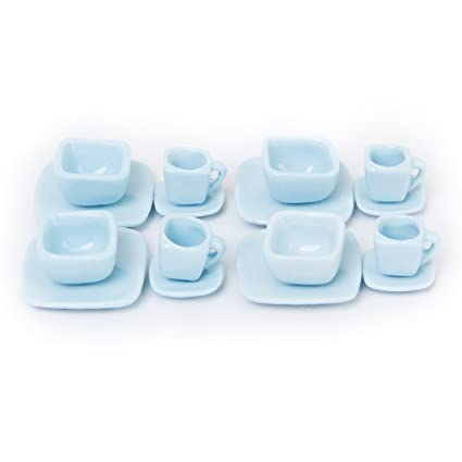 Toys & Hobbies 16 Pcs Miniature Dollhouse Square Dinnerware Porcelain Tea Set Tableware Mug Plate Light Blue