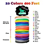 Glow in The Dark 3D Pen Filament Refills PLA - 20 Colors 400 Feet(10 Glow, 6 Fluo, 4 Common) Bonus 250 Stencil eBook - Dikale 3D Pen Filament 1.75mm