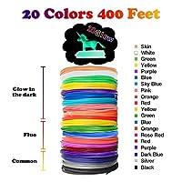 3D Pen Filament Refills PLA - 20 Colors 400 Feet(10 Glow, 6 Fluo, 4 Common) Bonus 250 Stencil eBook - Dikale 3D Pen Filament 1.75mm for Tecboss Nulaxy DigiHero Canbor 3D Pen etc