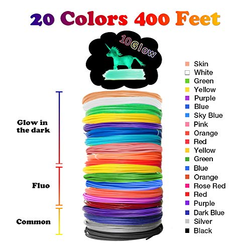 Glow in the Dark 3D Pen Filament Refills PLA - 20 Colors 400 Feet(10 Glow, 6 Fluo, 4 Common) Bonus 250 Stencil eBook - Dikale 3D Pen Filament 1.75mm for Tecboss Nulaxy etc(Does Not Fit 3Doodler)