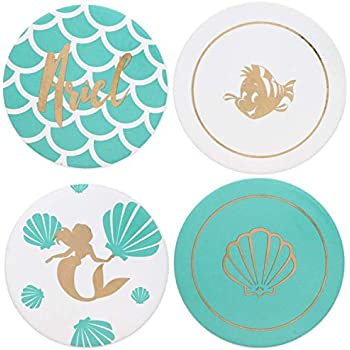The Little Mermaid Princess Ariel Themed Coaster Set with 4 Unique Designs - Ceramic Coasters that Make Beautiful Home Accessories to Protect Tables from Drink Marks, Water Rings, and Scratches, 4pc