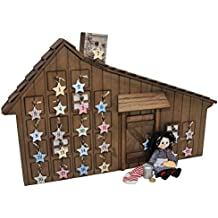 Officially Licensed Little House On The Prairie Advent Calendar with 18 Inch Doll Christmas Accessories. Shaped Like the Beloved Home. Can Hang on Wall - Plus 24 Removable Ornaments.