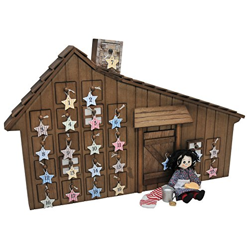 Officially Licensed Little House On The Prairie Advent Calendar with 18 Inch Doll Christmas Accessories. Shaped Like the Beloved Home. Can Hang on Wall - Plus 24 Removable (Advent Calendar Ornaments)